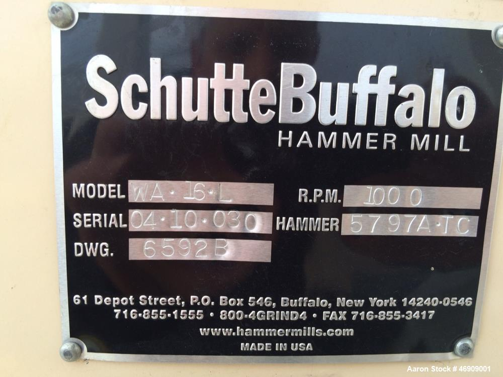 "Used- Schutte Buffalo Hammer Mill, Model WA 16L. Top feed; bottom discharge; 3/8"" housing. 2 1/2"" shaft diameter, 16"" rotor ..."