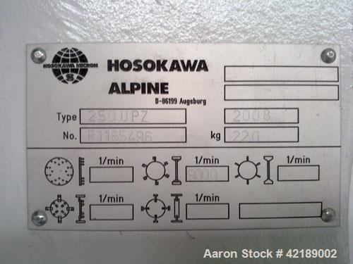 Used-Hosokawa Alpine Fine Impact Milling System, type 250-UPZ. Material of construction is stainless steel on product contac...