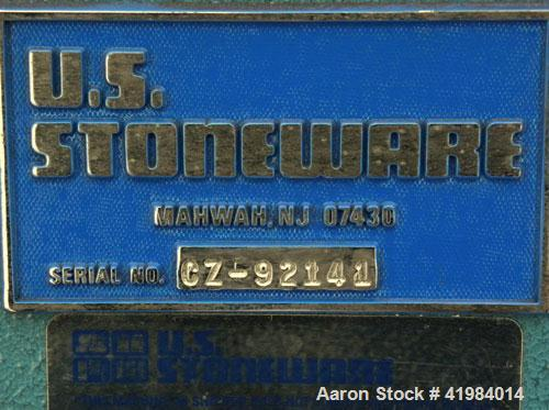"""Used- U.S. Stoneware Jar Rolling Mill. Single tier, (2) 2'' diameter x 13"""" long rubber rollers, driven by an approximate 1/4..."""