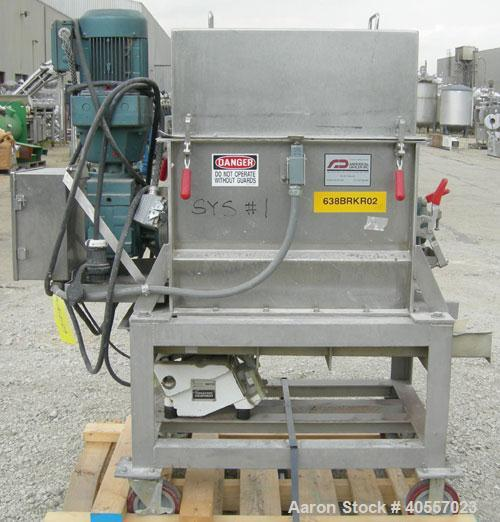 """Used- Anderson Dahlen Product Lump Breaker, 304 stainless steel. 14"""" wide x 25 3/4"""" long chamber, 2"""" diameter shaft with (12..."""