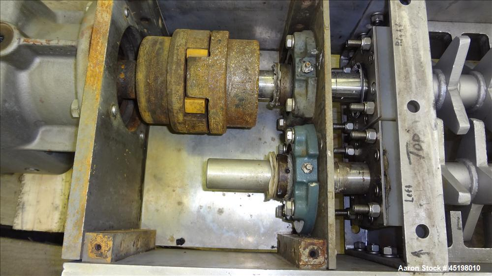 """Used- Dual Shaft Lump Breaker, 316 Stainless Steel. 12"""" x 12"""" Feed, no hopper. Approximate 1/2"""" thick fixed blades. Driven b..."""