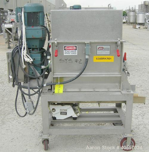 Used- Anderson Dahlen Product Lump Breaker, 304 stainless steel. 14'' wide x 25 3/4'' long chamber, 2'' diameter shaft with ...
