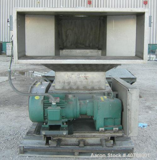 "Used- Jacobson Dual Rotor Full Nelson Crusher, Model 2424DR.FNC, 304 stainless steel. (2) 3"" diameter shafts with 3/4"" thick..."