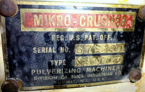 """Used- Mikro Crusher Lump Breaker, Type N60I03, 304 Stainless Steel.  Approximate 6"""" x 9"""" top feed opening with hopper, botto..."""