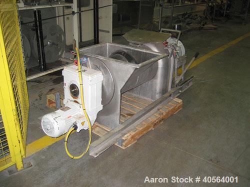 Used- Bucher apple grinding disc mill, model CM50, stainless steel. 30 kW motor for main grinding head, 3 kW motor for 14 in...