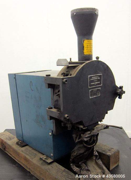 """Used- Thomas WileyCuttingMill,Model 4, Carbon Steel. 141 Cubic inch chamber 7-3/4"""" diameter x 3"""" deep. (4) Bolt on blade ..."""