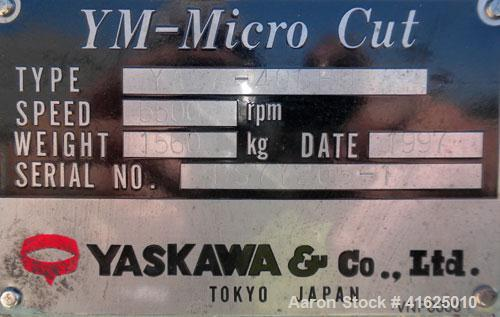 Used- Yaskawa and Company YM Micro Cut Classifying Mill, Type YACA-400HU. Capacity 300 to 20000 kg/hr, cut size 8 micron met...