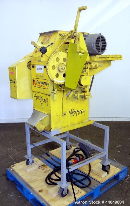 "Used- Roskamp Roller Mill, Model K, Carbon Steel. (2) Approximately 9"" diameter x 12"" wide grooved rolls, manually adjustabl..."