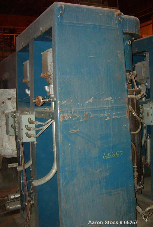 """Used- Asada Iron Works Vertical Sand Mill. (2) 8"""" ID x 44"""" side by side stainless steel jacketed chambers, each is top drive..."""