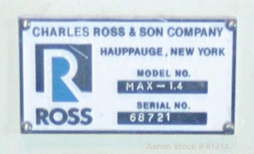 Used: Stainless Steel Ross horizontal medial mill, model MAX1.4