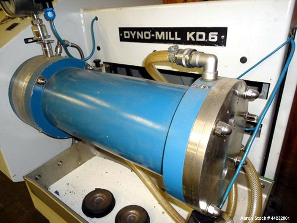 Used- WAB Horizontal Dyno Mill (Dispersion Media Mill), Model KD6, Stainless steel contacts. Production is approximately 20-...