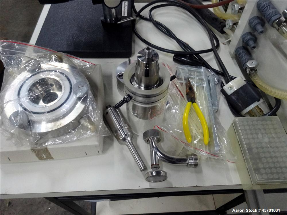 Used- Dyno Mill Laboratory Mill, Model Type KDL, Horizontal. Approximately 0.3 liter glass grinding chamber, approximately 6...