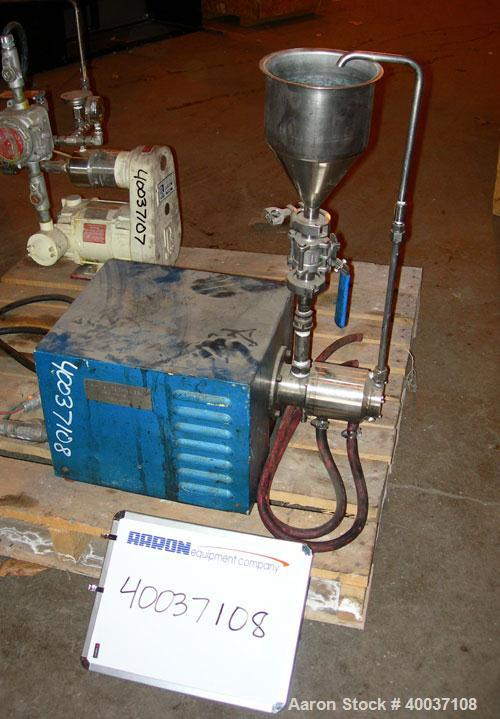 Used- Eiger Mini Motor Media Mill, Model 250, stainless steel, horizontal. Approximately 250 ML jacketed chamber, up to 1 ga...