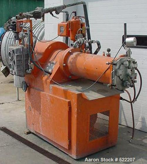 USED: Netsch 50 liter horizontal media mill, model 574-50. 50 hp motor, 1170 rpm, 575 volt. Has Molinex rotor, stainless ste...