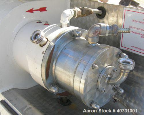 Used- Netzsch Horizontal Media Mill, model LME1/LMJ05, type 574.01/506.01. Chrome lined chamber with stationary pins, approx...