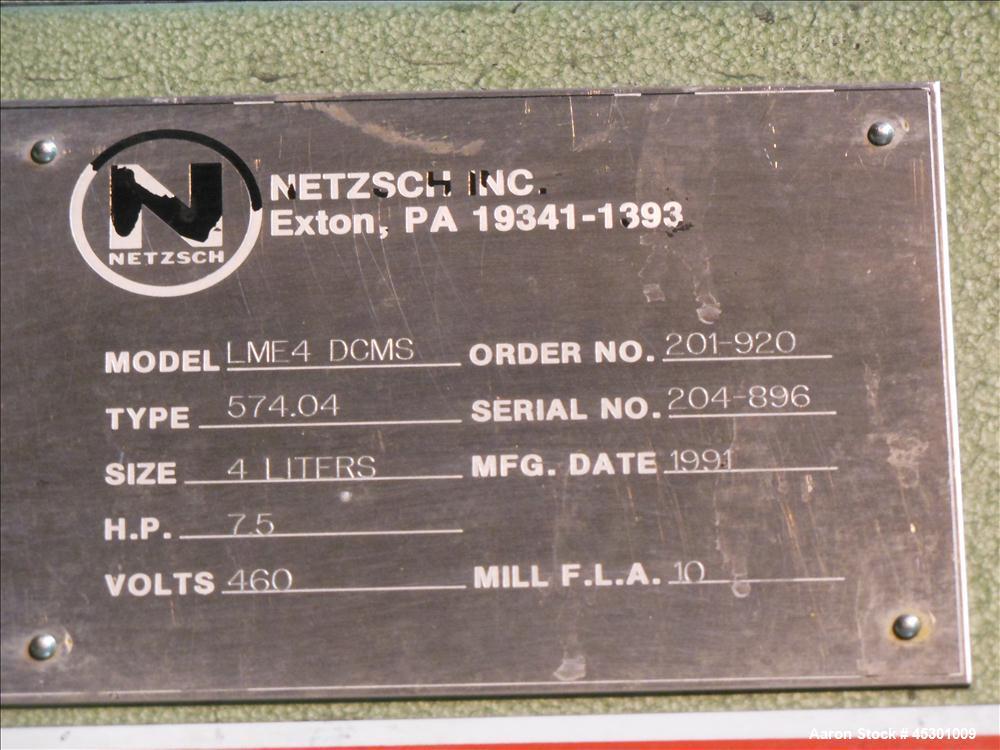 Used- Stainless Steel Netzsch Horizontal Media Mill, Model LME4-DCMS