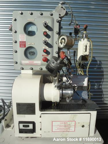 Used- Netzsch Pilot Horizontal Media Mill, LMZ-05. Unit has stainless steel contact parts, and the rotor is driven by a 5HP ...