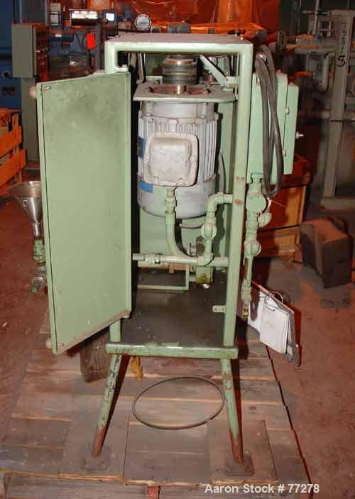 Used- Premier Sand Mill, Model 2-RS. Carbon steel jacket, stainless steel construction on product contact parts. Chamber 8-1...