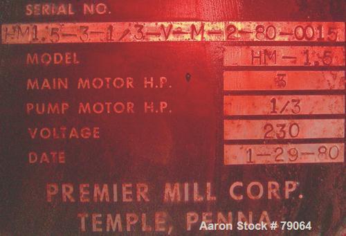 Used- Premier Laboratory/Pilot Plant Super Mill, Model HM-1.5