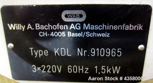 """Used- WAB Willy A. Bachofen Dyno-Mill, Model KDL, 316 Stainless Steel. Approximate capacity 0.3 to 0.6 liters. 3"""" Diameter x..."""