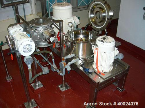 Used: Hosokawa Mikro classifier mill, model ACM10PSR11, 316 stainless steel. Rotor speed 6900 rpm, driven by a 15/10 hp moto...