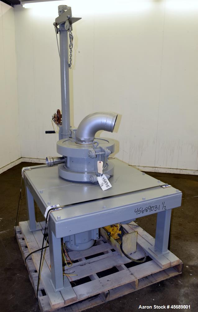 """Used- Kemutec PPS Air Classifying Mill, Model 2 CMT, Carbon Steel. Approximate 13"""" diameter grinding chamber. Rotor driven b..."""