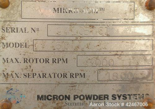 Used- Micron Powder Systems Air Classifying Mill, Model 60ACM, Carbon Steel. Approximate 30'' diameter grinding chamber. Max...