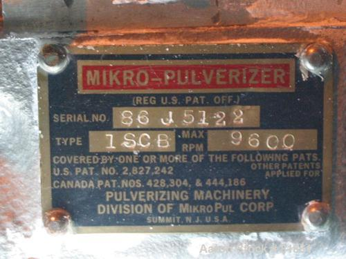 "USED: Mikro Pulverizer, model 1SCB, 304 stainless steel. Approximate 6"" diameter rotor with (6) 3-1/4"" wide swinging stirrup..."