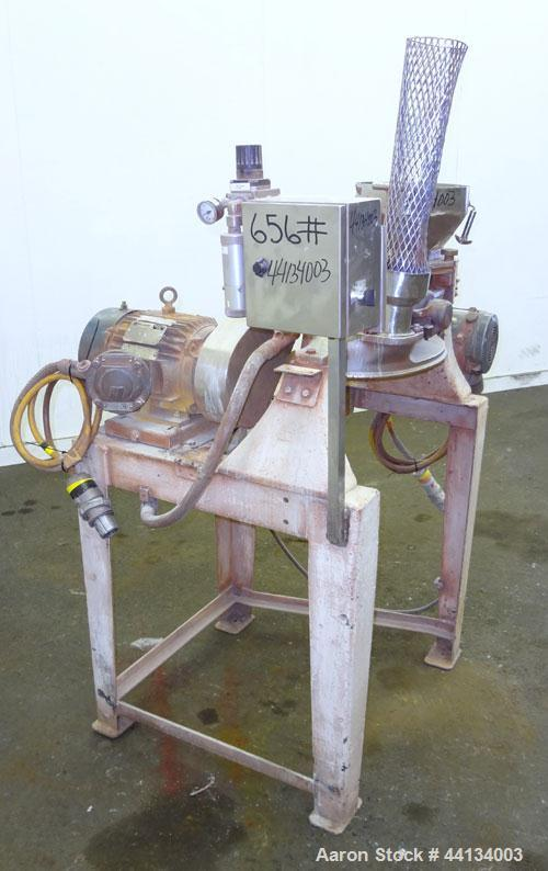 "Used- Mikro Pulverizer Hammer Mill, Model 1SH, 304 Stainless Steel. Approximately 8"" diameter x 3-1/2"" deep chamber with (6)..."