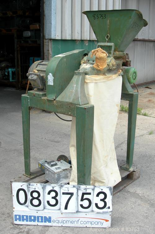 """USED: Mikro Pulverizer Model 1SH, carbon steel. Approximate 6"""" diameter rotor with (6) 3"""" wide swinging stirrup hammers. 1-1..."""
