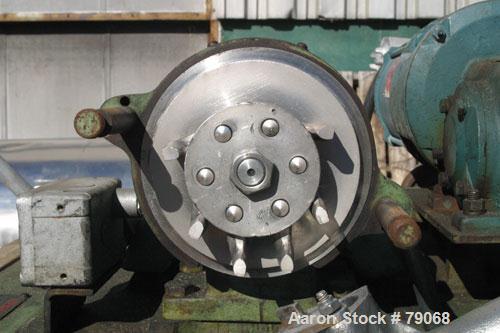 "Used- Mikro Pulverizer, Model CF, 316 Stainless Steel. 3"" diameter rotor with (6) 1-1/2"" wide swing hammers. 1"" diameter scr..."