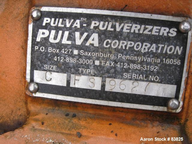 USED: Pulva Corp Pulverizer, model C, carbon steel. Double screw feed. Driven by a 3/4 hp motor. Main drive is a 40 hp, 230/...
