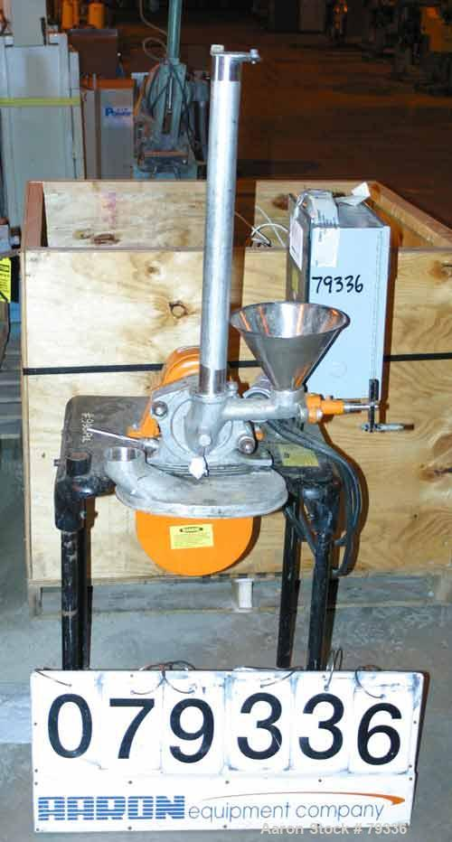 "Used- Pulvette Pulva-Sizer Hammermill, 304 Stainless Steel. 5"" diameter rotor with (6) 1-1/4"" wide T style swing hammers. Ha..."