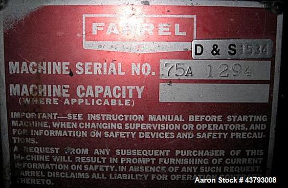 Used- Farrel Banbury Mixer, Size BR