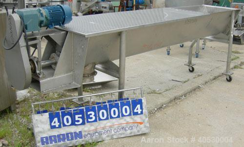 "Used- Continuous screw mixer, 316 stainless steel. 9"" diameter x 105"" long x 4 1/2"" centers open screw, 2 3/4"" diameter shaf..."