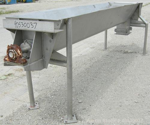 "Used- Continuous Screw/Paddle Mixer, 316 stainless steel. 9"" diameter x 96"" long x 4 1/2"" centers open screw, 18"" long 1/4"" ..."