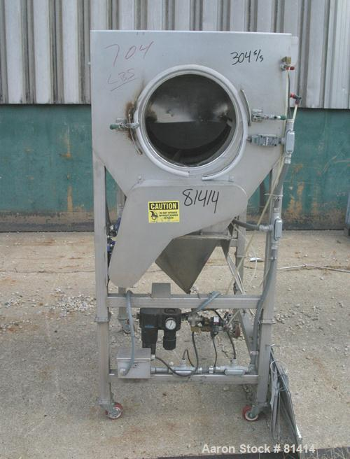 "USED:Seasoning tumbler, 304 stainless steel. 25"" diameter x 36"" longhorizontal screen section. 15"" diameter infeed section (..."