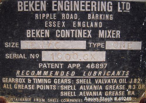 Used- Beken Engineering Twin Shaft Processor/Mixer, Model TEN/C, Type ONE