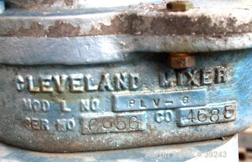 """USED: Cleveland inline continuous mixer, model PLV-6, 316 stainless steel. 6"""" diameter inlet/outlet. Driven by a 1/3 hp, 3/6..."""