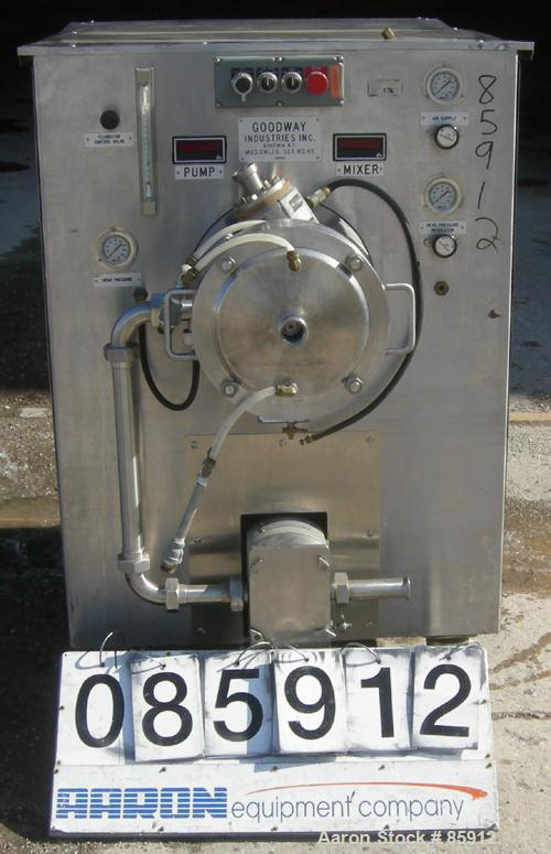 """Used- Goodway Industries Continuous Mixer, model CML25, 304 stainless steel. 10"""" diameter, jacketed stator, 2"""" triclamp inle..."""