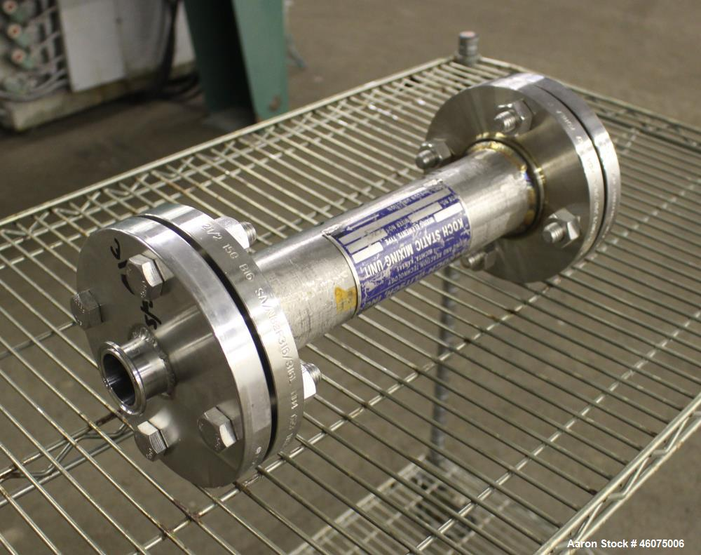 "Used- Koch-Glitsch Static Mixer, Type SMX, Stainless Steel. (4) Mixing elements, approximate 2-1/2"" diameter x 12"" long cham..."