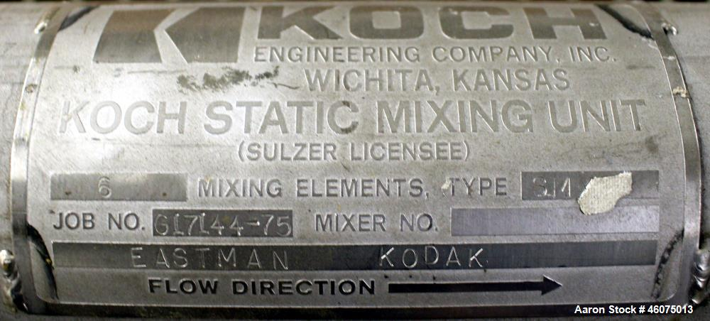 """Used- Koch-Glitsch Static Mixer, Type SMX, Stainless Steel. (6) Mixing elements, approximate 3-1/2"""" diameter x 20"""" long cham..."""