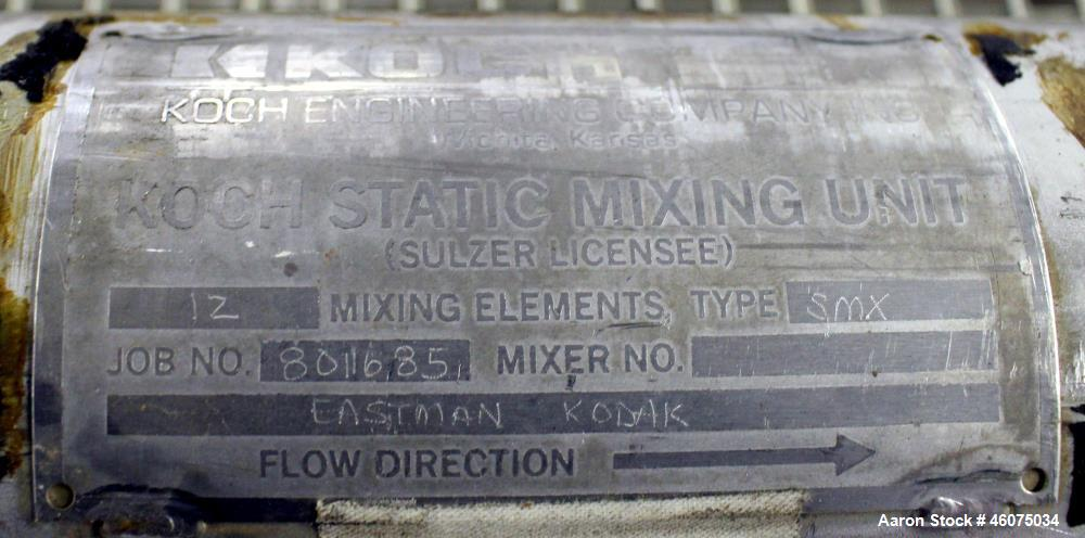 "Used- Koch-Glitsch Static Mixer, Type SMX, Stainless Steel. (12) Mixing elements, approximate 3-1/2"" diameter x 48"" long. 3-..."