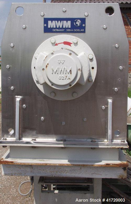 Used-MWM 400 V-K Continuously Operating Mixer, stainless steel, capacity 14 cubic feet (400 liter), with angular blade, agit...