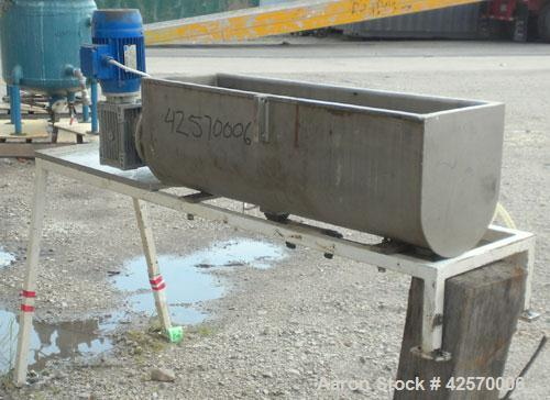 "Used- Continuous Mixer. MU Metal non-jacketed trough 8"" wide x 34-1/2"" long x 10"" deep. 1-1/4"" diameter 304 stainless steel ..."