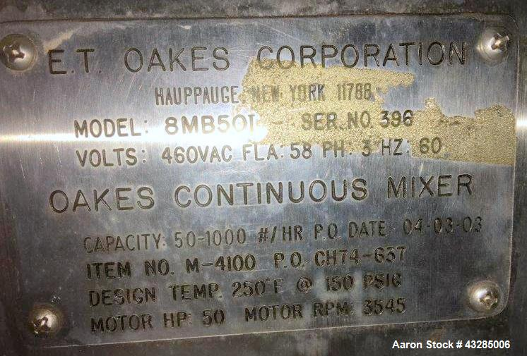 Used- Stainless Steel Oakes Continuous Mixer, Model 8MB501