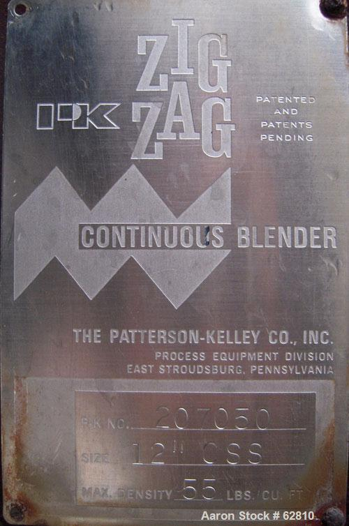 "Used- Patterson Kelley Continuous Zig-Zag Blender, Model 12""CSS, 304 Stainless Steel.  12"" diameter x approximately 11' long..."