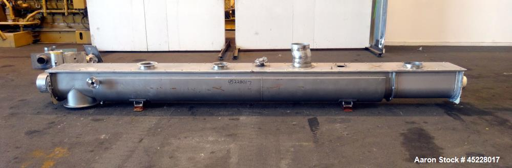 """Used- AMMAG Continuous Paddle Mixer, Model SCHN 350, 304 Stainless Steel. Trough approximate 187"""" long x 14-1/8"""" wide x 16"""" ..."""