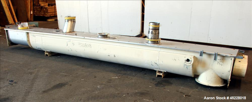 "Used- AMMAG Continuous Paddle Mixer, Model SCHN, 304 Stainless Steel. Trough approximate 187"" long x 14-1/8"" wide x 16"" deep..."
