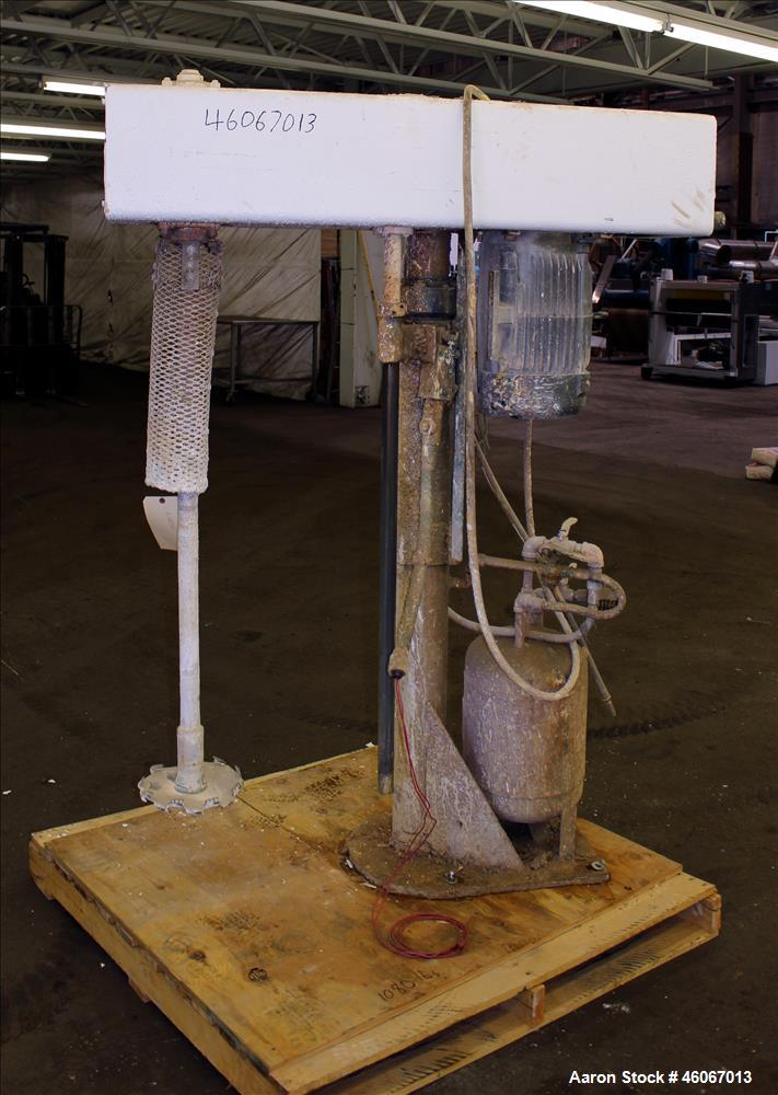 """Used- Disperser. 304 Stainless steel shaft 1-3/4"""" diameter x 50"""" long with 10"""" diameter mixing blade. Air/oil lift with tank..."""